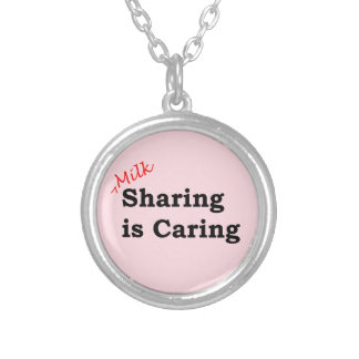 Milk sharing is caring with red and black writing silver plated necklace