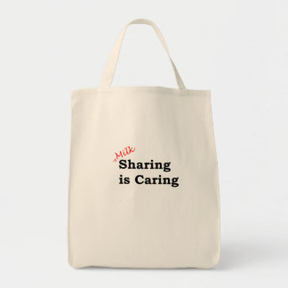 Milk sharing is caring with red and black writing tote bag