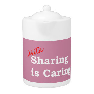 Milk sharing is caring with red and white writing