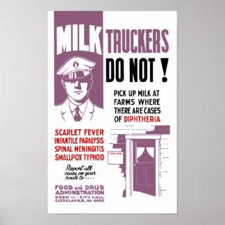 Milk Trucker FDA Warning Poster