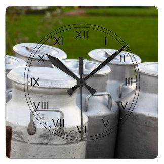 Milk urns square wall clock
