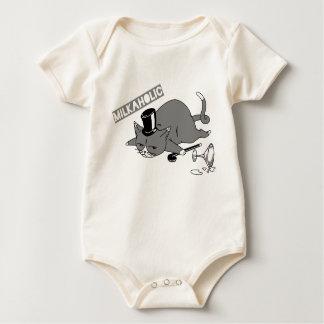 """Milkaholic"" Cat Baron Pun Illustration Baby Bodysuit"