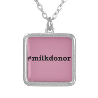 #milkdonor with black lettering silver plated necklace