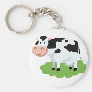 milking cow in the garden basic round button keychain