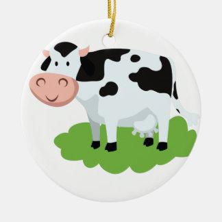 milking cow in the garden ceramic ornament