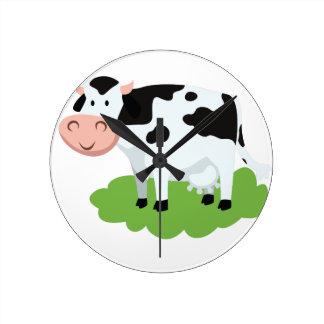milking cow in the garden round clock
