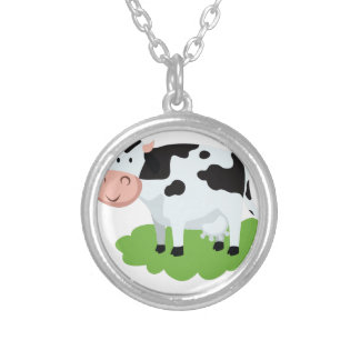 milking cow in the garden silver plated necklace