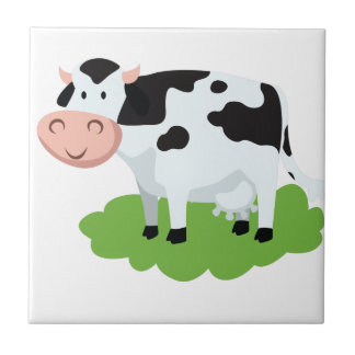 milking cow in the garden tile