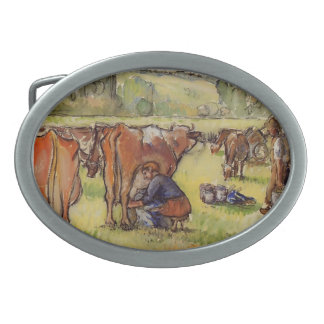 Milking Cows by Camille Pissarro Oval Belt Buckle