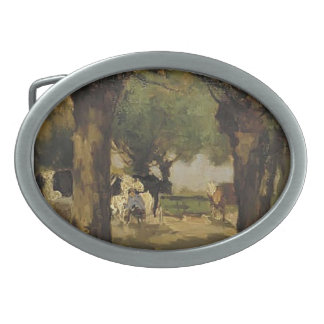Milking cows in willows by Johan Weissenbruch Oval Belt Buckles