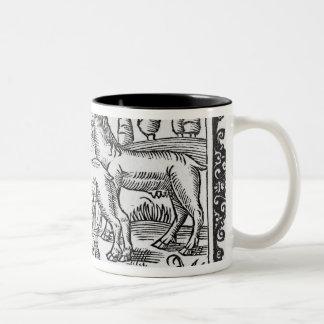 Milking reindeers Two-Tone coffee mug