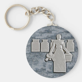Milkmaid Basic Round Button Keychain