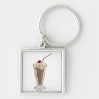 Milkshake Silver-Colored Square Keychain
