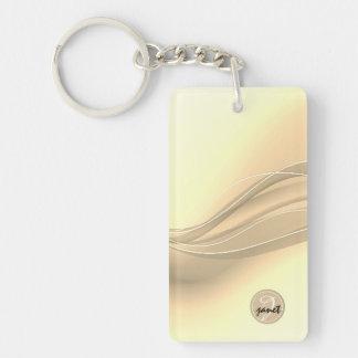 Milky Caramel Modern Waves Monogram Keychain