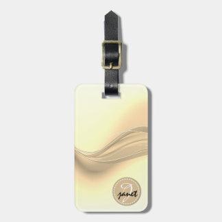 Milky Caramel Modern Waves Monogram Luggage Tag