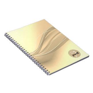 Milky Caramel Modern Waves Monogram Notebook