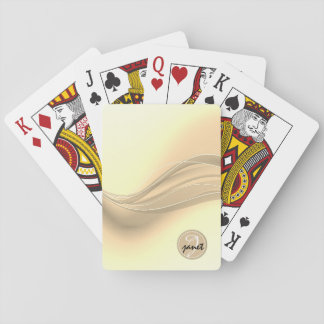 Milky Caramel Modern Waves Monogram Playing Cards