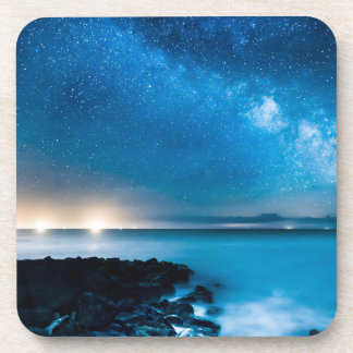 Milky Way Galaxy Over Fishing Boats Beverage Coaster