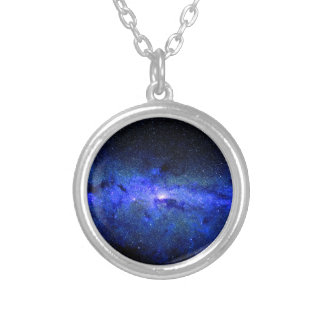 Milky Way Galaxy Space Photo Silver Plated Necklace