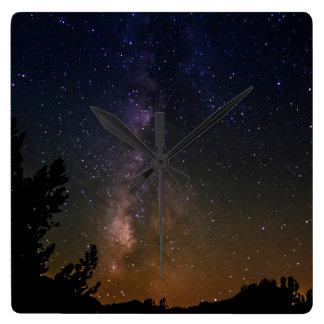 Milky Way night sky, California Square Wall Clock