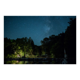 Milky Way over Boat Docks Poster