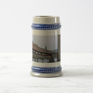 Mill bridge, medieval wooden bridge, Lucerne Beer Stein