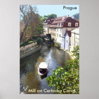 Mill on Certovka Canal, Prague.  Poster