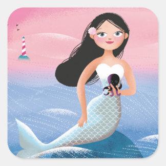 Milla the Mermaid illustration Square Sticker