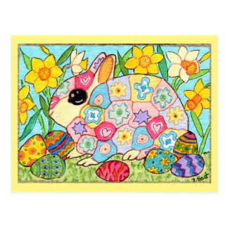 Millefiori Bunny with Festive Eggs Folk Art Easter Postcard