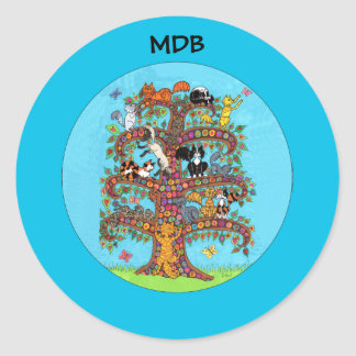 Millefiori Cat Tree of Life Custom Monogram Classic Round Sticker