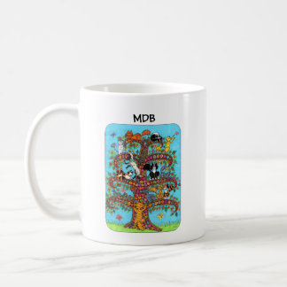 Millefiori Cat Tree of Life Custom Monogram Coffee Mug