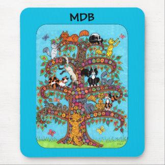 Millefiori Cat Tree of Life Custom Monogram Mouse Pad