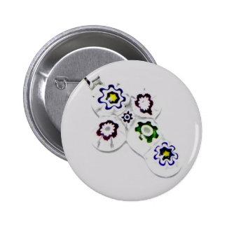 Millefiori glass flower cross buttons
