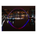 Millenium Bridge by night over the River Tyne Poster
