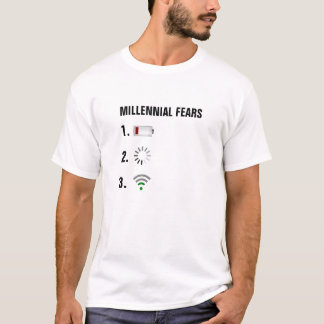 Millennial Fears low battery, loading icon, low wi T-Shirt