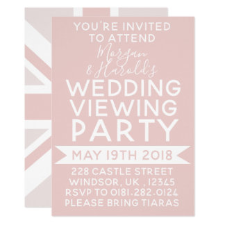 Millennial Pink UK Flag Wedding Party Invitation
