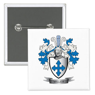 Miller Family Crest Coat of Arms 2 Inch Square Button
