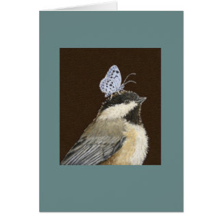 Millie the black-capped chickadee card