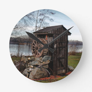Milling about the outhouse round clock