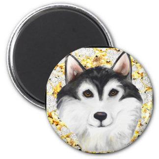 Million Dollar Alaskan Malamute 2 Inch Round Magnet