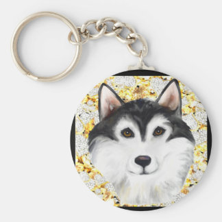 Million Dollar Alaskan Malamute Basic Round Button Keychain