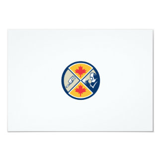 "Millwright Caliper Welder Maple Leaf Circle Retro 3.5"" X 5"" Invitation Card"