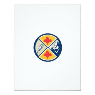 "Millwright Caliper Welder Maple Leaf Circle Retro 4.25"" X 5.5"" Invitation Card"