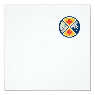 "Millwright Caliper Welder Maple Leaf Circle Retro 5.25"" Square Invitation Card"