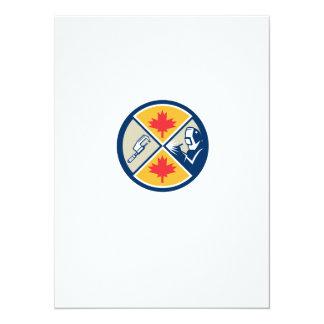 "Millwright Caliper Welder Maple Leaf Circle Retro 5.5"" X 7.5"" Invitation Card"