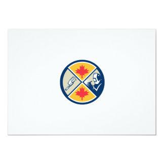 "Millwright Caliper Welder Maple Leaf Circle Retro 5"" X 7"" Invitation Card"