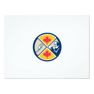 "Millwright Caliper Welder Maple Leaf Circle Retro 6.5"" X 8.75"" Invitation Card"