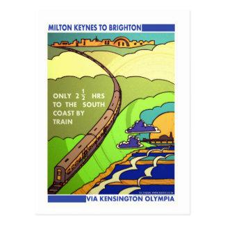 Milton to Brighton railway travel postcard