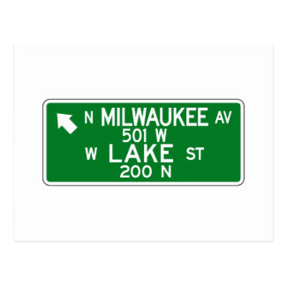 Milwaukee Avenue-Lake Street, Chicago, IL Sign Postcard