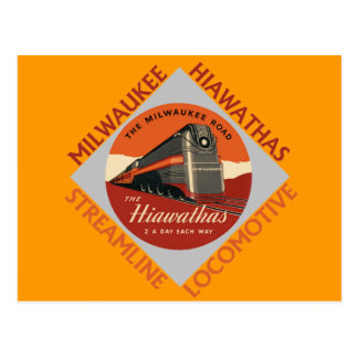 Milwaukee Hiawatha Railroad Postcard